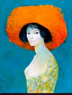 Leonor Fini, Self-portrait with red hat, 1968