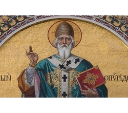 Giuseppe and  Pompeo Bertini, San Spiridione, circa1880, mosaic in the lunette of the main door. Trieste, Church of  San Spiridione, exterior