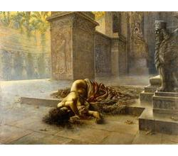 Augusto Valli, Semiramide dying on Nino's tomb, oil on canvas, 150x200 cm, Modena, Civic Museum of Art