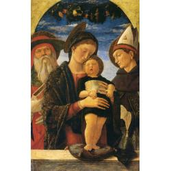 Andrea Mantegna, The Virgin and Child with St. Jerome and St. Louis of Toulouse, 1455 circa, olio su tavola, 69x44 cm, Paris, Institut de France, Musée Jacquemart-André