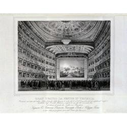 "Francesco Zanotto, The Apotheosis of the Teatro Fenice – stage curtain by Mr. Cosroe Dusi, In ""Descriptions of the newly-painted stage curtains for the Teatro Fenice"", lithograph, 17.5x12 cm, Private collection"