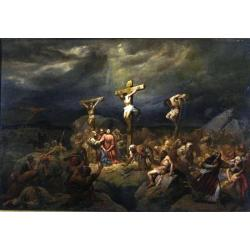 Cosroe Dusi, Crucifixion, oil on canvas, 59,5x87,5 cm, private collection