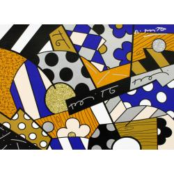 Romero Britto, The Blues, 2017, serigrafia su tela con polvere di diamante, 46x61cm
