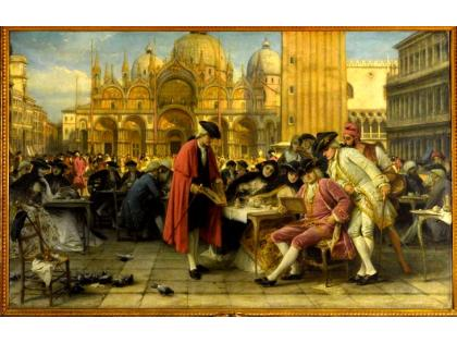 Francesco Guardi selling his paintings in St. Mark's Square